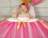 Pink gold Highchair tutu, First birthday, highchair, tutu, High cahir skirt, pink gold first birthday, smash cake