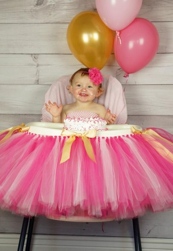 Pink Gold Highchair Tutu First Birthday Highchair By
