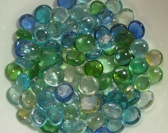 "Blue Mix:  Glass Gems Vase Filler Flat Back 14 ounce bag, approx. 85-90 pieces about 3/4"" in size"
