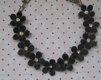 Vintage Jewelry, Necklace, Black Flowers, Rhinestone Centers, 1950's, Mid Century