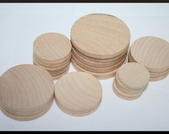 100- Various Wooden Round Circles, Wood Disc, Wood Coins, Unfinished Circles-You Choose Your Size