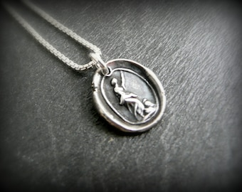 Silver wax seal charm, courage, liberty by RECREATE4U