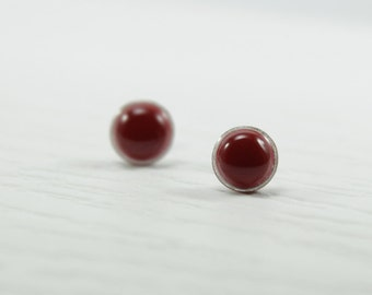 Deep Red Small Stud Earrings 10mm - Deep Red Small Earrings - Surgical Steel Post - Polymer Clay / Resin - Red Earrings
