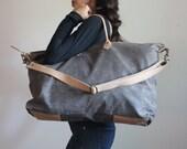 Waxed Canvas Weekend Getaway Bag Charcoal and Tan