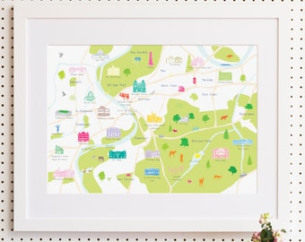 Map of Richmond, South West London Print