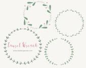 Laurel Wreath Clipart - Floral Wreath Clipart - Wedding Invitation Clipart -  Frame - Border - Clipart - Scrapbooking - Scrapbook Supplies