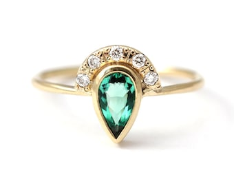 Emerald Engagement Ring with Pave Diamonds Crown - 0.35 Carat Pear Cut Emerald - 18k Solid Gold