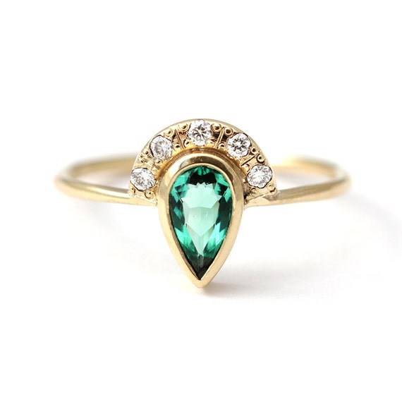 Emerald Engagement Ring with Pave Diamonds Crown - 0.3 Carat Pear Cut Emerald - 18k Solid Gold