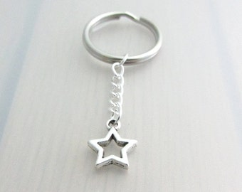 Hollow Star Charm Keychain, Star Charm Keyring, Silver Star Keychain, Space Charm Keyring, Celestial Keychain, Space Gift, Night Sky Gift