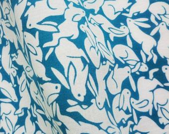Japanese bunny fabric Tenugui, green bunny fabric,  tenugui kawaii rabbit fabric, indigo blue Japanese fabric