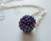 Pave' Crystal Floating Necklace / Sapphire Blue Crystal Disco Ball / 14K Gold Fill / SimplyJoli