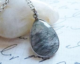 Rutilated Quartz Bezel Gemstone Necklace / Sterling Silver / SimplyJoli / Teardrop Pendant