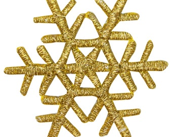 ID #8141 Gold Snowflake Winter Season Holiday Embroidered Iron On Applique Patch