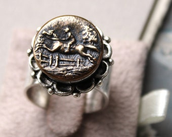 Vintage Button Ring, Horse and Rider Button c. 1920-1930, Equestrian Jewelry, Silver Adjustable Button Ring by Donna Sutor, veryDonna