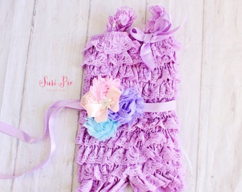 Baby Girl Easter Outfit, Lace Romper Sash Set, Lavender Lace Romper, Easter Outfit for Girls, Baby Girl Outfit