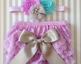 Baby Girl lace bloomer set, Newborn lace bloomer set, Lavander lace diaper cover,Baby bloomer set, photography prop baby, baby shower gift,