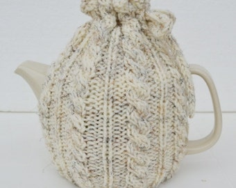 Oatmeal Tea Cosy, Oatmeal Teapot Cozy, cable design,  Mothers day gifts, Valentines gifts