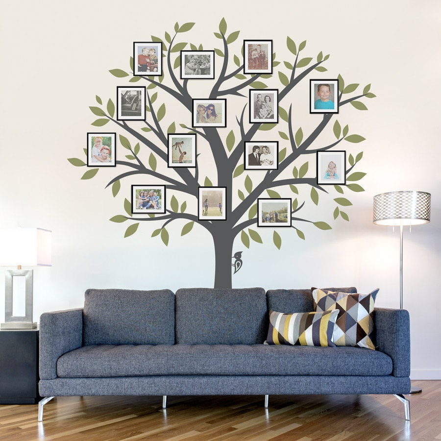 Family Tree Wall Decal - Tree Wall Sticker, Nature Wall Decal, Living Room Art