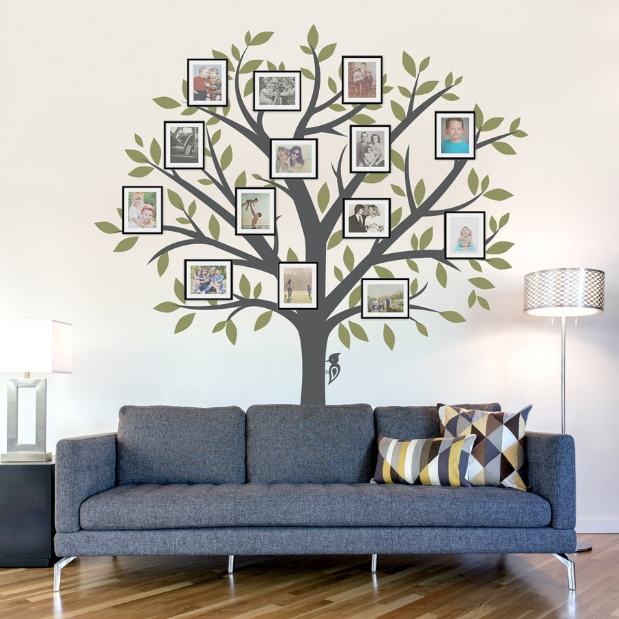 Family Tree Wall Decal - Tree Wall Sticker, Nature Wall Decal, Living Room  Art, Family Photo Art, Family Tree Art