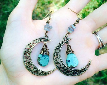 Moon earrings with crystals of your choice in brass or sterling