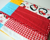 CLEARANCE: frosty PENGUIN QUILT, gender neutral, baby boy or girl, cotton and flannel, ready to ship, 33 x 44 inches
