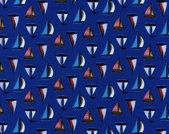 Mini Sailboats Royal - Half Yard Cut - Timeless Treasures - Cotton Fabric - Royal Fabric - Mini Boats Fabric