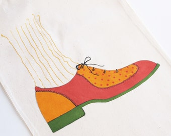 Hand Painted Brogues - Cotton Shoe Bag