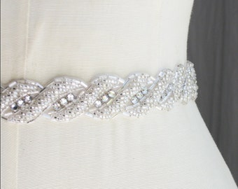 Crystal Wedding Sash, Rhinestone Sash, Bridal Sash, Wedding Belt, Bridal Belt, Silver Beaded Sash, Silver Belt, Silver Sash