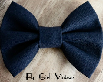 1950's- Vintage-Style-Hair-Bow-Clip- Fabric-Hair-Bows-Mod-Rockabilly-Solid-Black-For Women-Teens-Girls-Baby-Punk-Pin-Up
