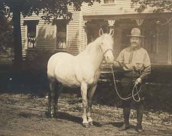 Me and Smokey - Vintage 1920s Forest Ranger and Horse Silver Gelatin Real Photo Postcard