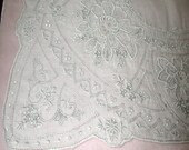 "LOVELY ANTIQUE White Swiss Appenzell Hand Embroidered Handkerchief, 11 x 11"", White, No. 1"