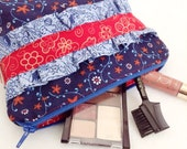 Blue and Red Ruffled Cosmetic Bag - Makeup Bag - Small Zippered Pouches - 5x7 Cosmetic Pouch