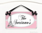 personalized family est sign paris theme plaque  eiffel tower black and pink dots and stripes  sign - P2094