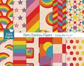 Retro Rainbow Digital Papers - Rainbow Scrapbooking Papers - card design, invitations, background, paper crafts -INSTANT DOWNLOAD