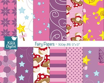 SALE Fairy Digital Papers, Princess Scrapbook Papers, Pink Girl Digital Papers, Fairy Tale Scrapbook Papers - INSTANT DOWNLOAD