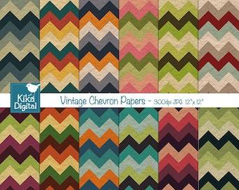 SALE Vintage Chevron Digital Papers, Textured Chevron Papers, Colorful Chevron Scrapbooking Papers, Retro Chevron Background