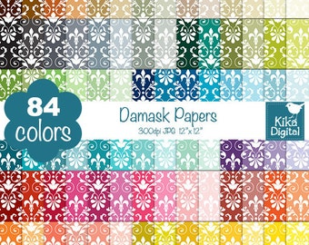 Damask Digital Papers - Rainbow Damask Papers - Damask Scrapbook Papers - Huge Paper Pack- INSTANT Download