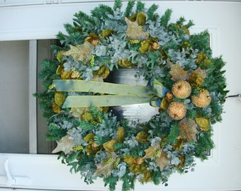 Frosted Green Apple with Pale Teal Eucalyptus Wreath