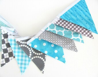 Baby Boy's Nursery Bunting Banner, Birthday Party Decoration Fabric Flags Aqua Grey, Turquoise Check Geometric Bunting Baby