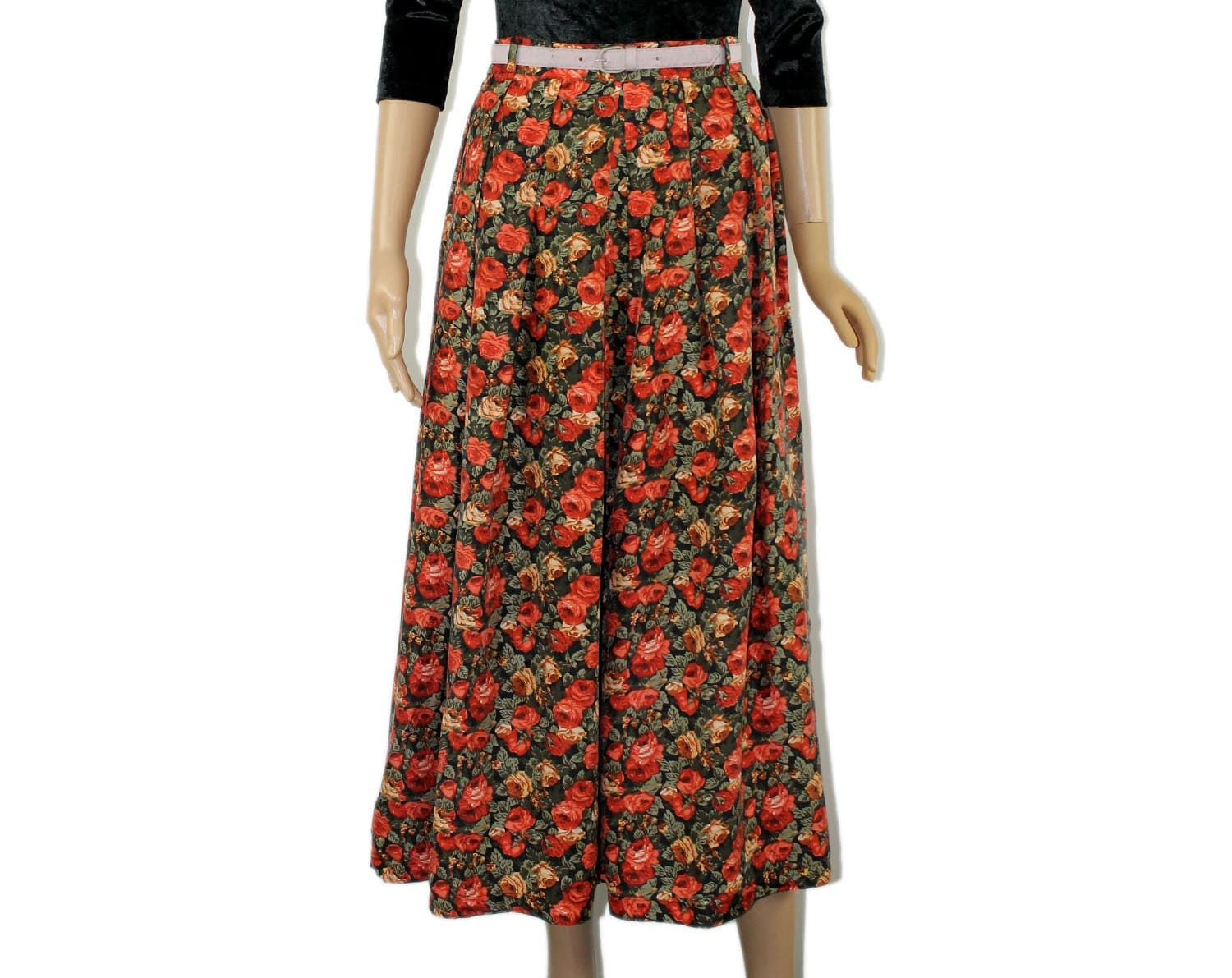 silk skirt high waist pleated pattern floral by