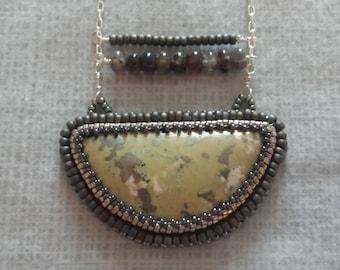 Semicircle Boho bead embroidered pendant