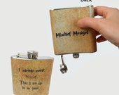 Stainless Steel Hip Flask  - I solemnly swear that I am up to no good -  Mischief Managed -  Harry Potter marauders map 4oz 6oz 2oz