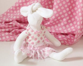Stuffed Animal Bunny Rabbit Doll with Clothes - Dressed up Soft Plushie Bunny Doll - 12 inch Ruffle Girl Doll Dress White with Pink Dots
