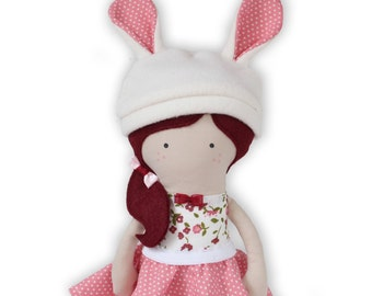 Handmade Bunny Cloth Doll Handmade Rag Doll Fashion Doll Soft Doll with Clothes - skirt, bunny hat - MADE TO ORDER