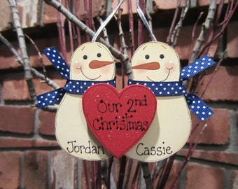 Personalized Snowmen Couple Ornament - Our 2nd Christmas