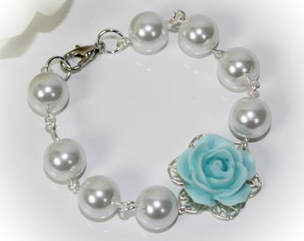 Flowergirl Gift Jewelry Flowergirl Rose Pearl Bracelet, Flowergirl Bracelet, Toddler Flowergirl Gift Pick Your Own Color