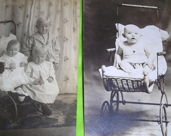 Victorian Babies In Wicker Carriages .......Heritage Photos .......Old Baby Photo Postcards