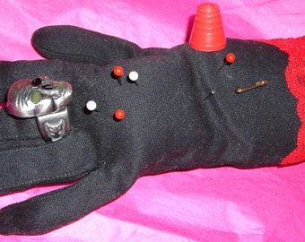 Black Hand Pincushion....You are Gothic  and You Sew and You Know Who You Are...... .......MC1