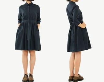 Black Blue Dress Tailored Collar Formal Cotton Dress