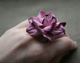 Pink leather rose flower ring